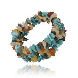 Glitzy Rocks Sterling Silver Multi Gemstone Chip Cuff Bracelet