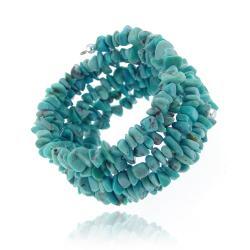 Glitzy Rocks Sterling Silver Turquoise Chip Cuff Bracelet