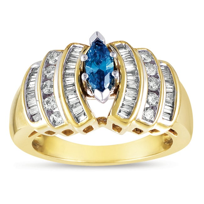 Eloquence 14k Yellow Gold 9/10ct TDW Stunning Blue Diamond Ring - Thumbnail 0
