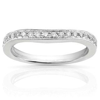 Annello by Kobelli 14k White Gold 1/5ct TDW Diamond Curved Wedding Band