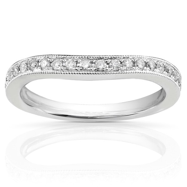 Annello by Kobelli 14k White Gold 1/5ct TDW Diamond Curved Wedding Band (H-I, I1-I2)