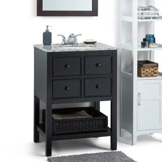 WYNDENHALL New Haven Espresso Brown 24-inch 2-drawer Bath Vanity Set with Dappled Grey Granite Top