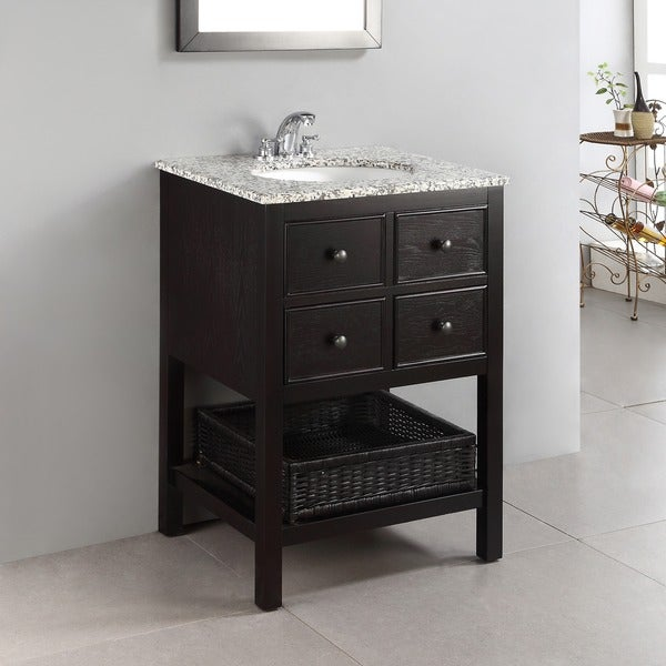 brown 24 inch 2 drawer bath vanity set with dappled grey granite top