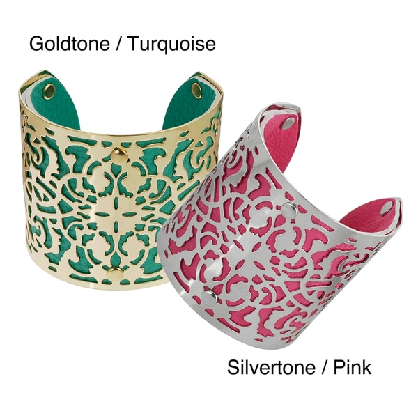 Journee Collection Simulated Leather Filigree Cuff Bracelet