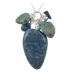 Glitzy Rocks Silver Denim Lapis And Turquoise Cluster Necklace