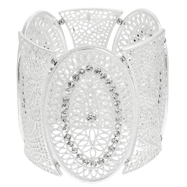 Journee Collection Silvertone Rhinestone Vintage Lace Stretch Bracelet