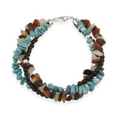 Glitzy Rocks Sterling Silver Multi Gemstone Three-strand Bracelet