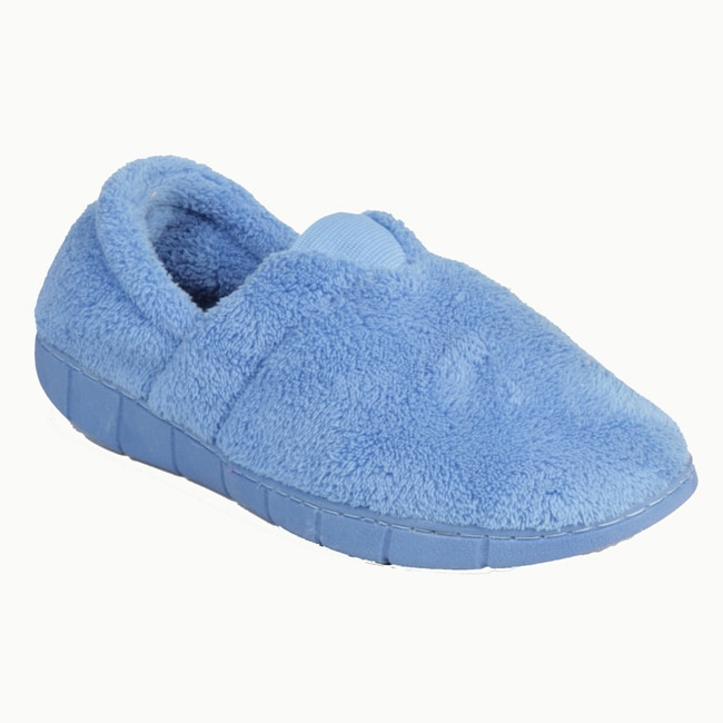 Muk Luks Women's 'Flower Fairisle' Blue Fleece Espadrille Slippers - Thumbnail 0