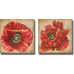 Patricia Pinto 'Red Poppy on Gold' 2-piece Canvas Art Set