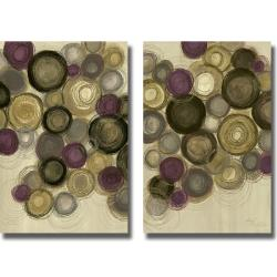 Jeni Lee 'Purple Whimsy I and II' 2-piece Canvas Art Set
