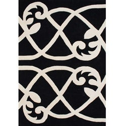 Alliyah Handmade Jet Black New Zealand Blend Wool Rug (5 x 8)