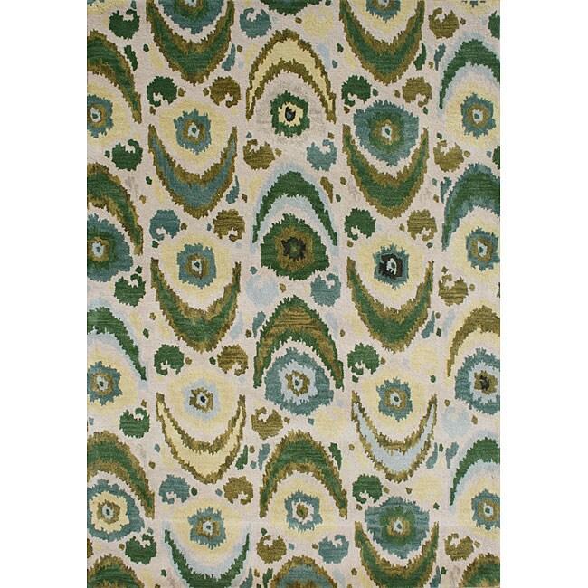 Alliyah Handmade Olive Green New Zealand Blend Wool Rug (5 x 8)