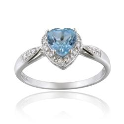 Glitzy Rocks 10k White Gold Diamond and Swiss Blue Topaz Heart Solitaire Ring