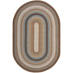 Safavieh Hand-woven Reversible Brown Braided Rug (6' x 9' Oval) - 6' x 9'
