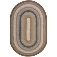 Safavieh Hand-woven Reversible Brown Braided Rug - 9' x 12' oval