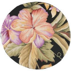 Safavieh Hand-hooked Botanical Black Wool Rug (3' Round)