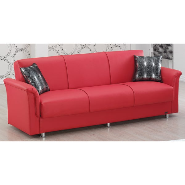 Sleeper Sofa Dallas: Shop Dallas Red Bonded Leather Sofabed