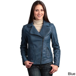 Collezione Italia Women's Faux Leather Asymmetrical Zip Jacket