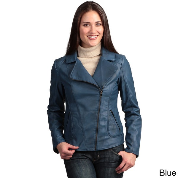 Collezione Italia Women's Faux Leather Asymmetrical Zip Jacket