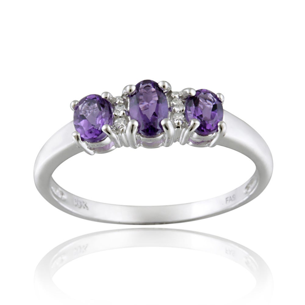 Glitzy Rocks 10k White Gold Diamond And Amethyst Three-stone Ring