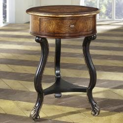 Hand Painted Distressed Chestnut Finish Accent Table