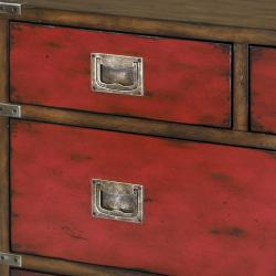 Hand-painted Distressed Walnut Brown/ Red Chest - Thumbnail 1