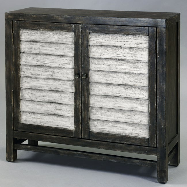 Hand-painted Distressed Charcoal Grey/ White Chest