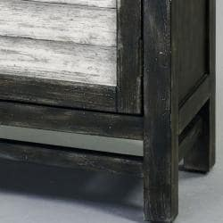 Hand-painted Distressed Charcoal Grey/ White Chest - Thumbnail 2