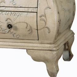 Hand-painted Distressed Antique Ivory Bombay Chest