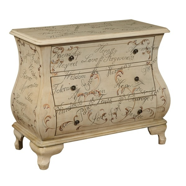 Hand Painted Distressed Antique Ivory Bombay Chest