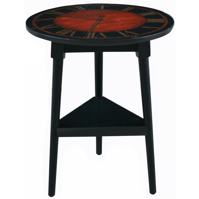 Hand Painted Distressed Coffee Table: Hand-painted Distressed Black Finish Accent Table