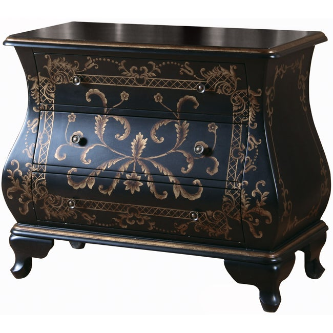 Hand painted black finish bombay accent chest free for Hand painted chests