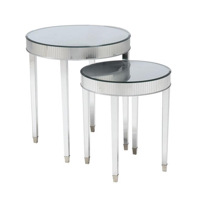 Round Mirrored Nesting Accent Tables (Set of 2)