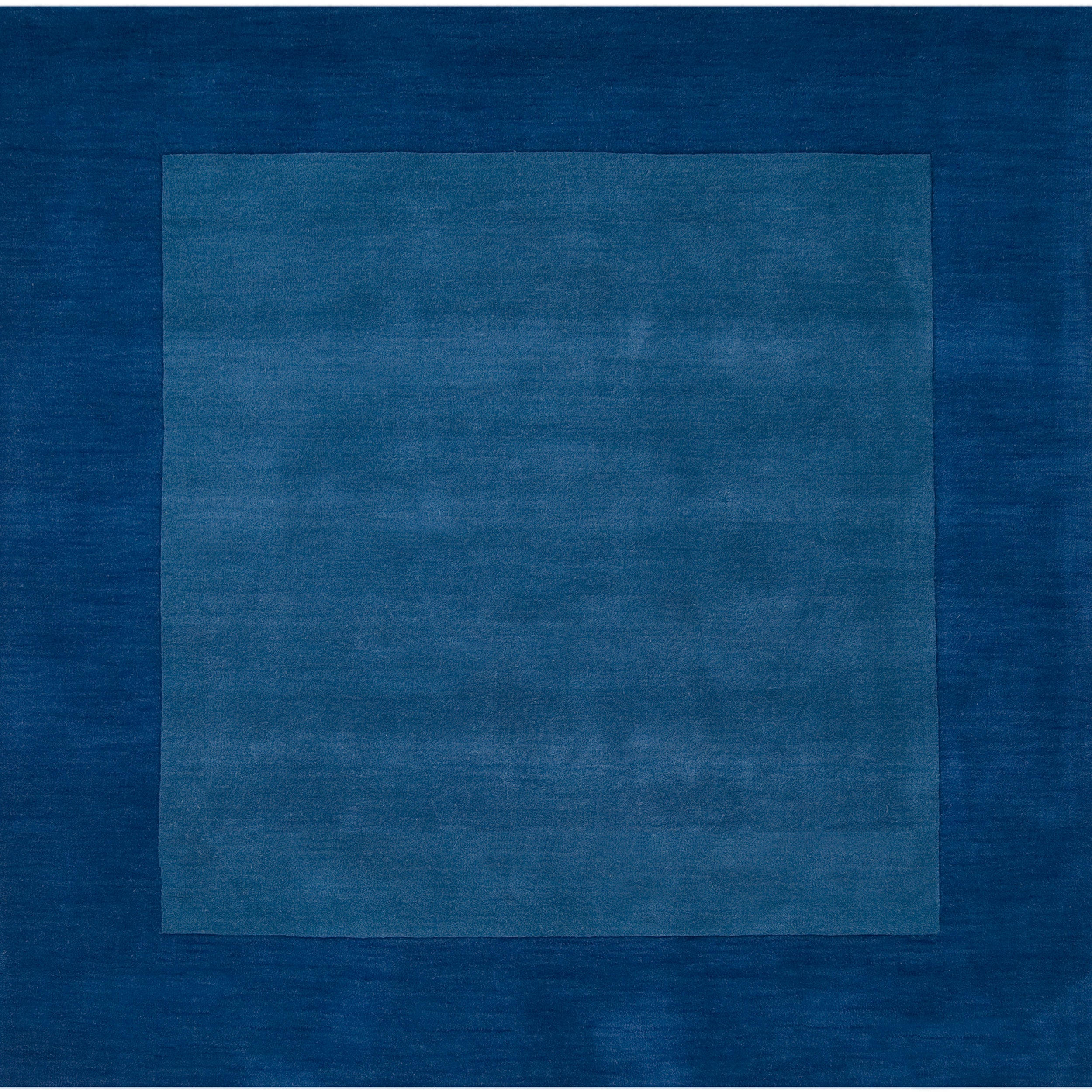 Hand-crafted Blue Tone-On-Tone Bordered Mantra Wool Rug (8' Square)