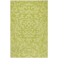 """Hand-crafted Green Damask Mantra Wool Area Rug - 3'3"""" x 5'3"""""""
