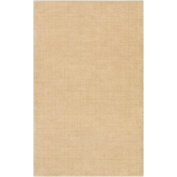 Hand-crafted Solid Beige Casual Mantra Wool Area Rug - 5' x 8'