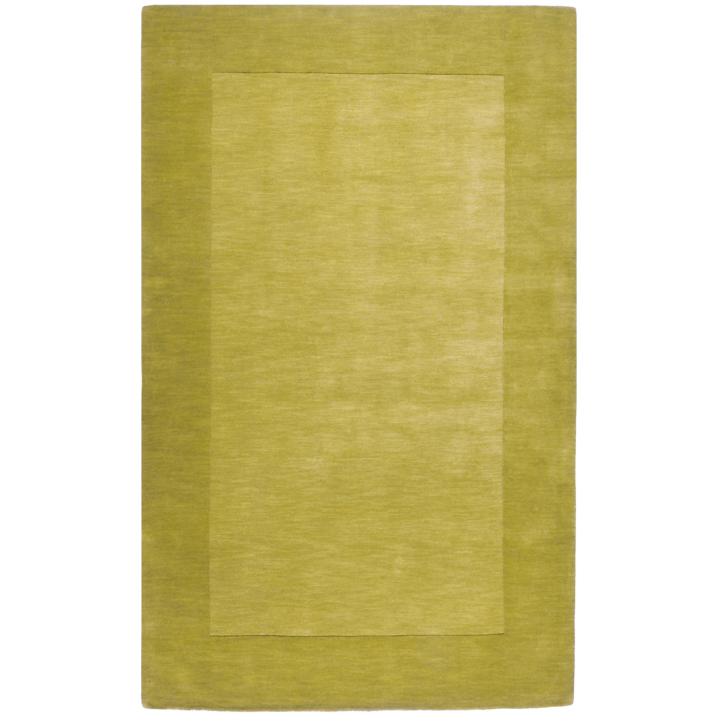 Hand-crafted Green Tone-On-Tone Bordered Mantra Wool Rug (7'6 x 9'6)