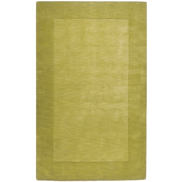 """Hand-crafted Green Tone-On-Tone Bordered Mantra Wool Area Rug - 7'6"""" x 9'6"""""""