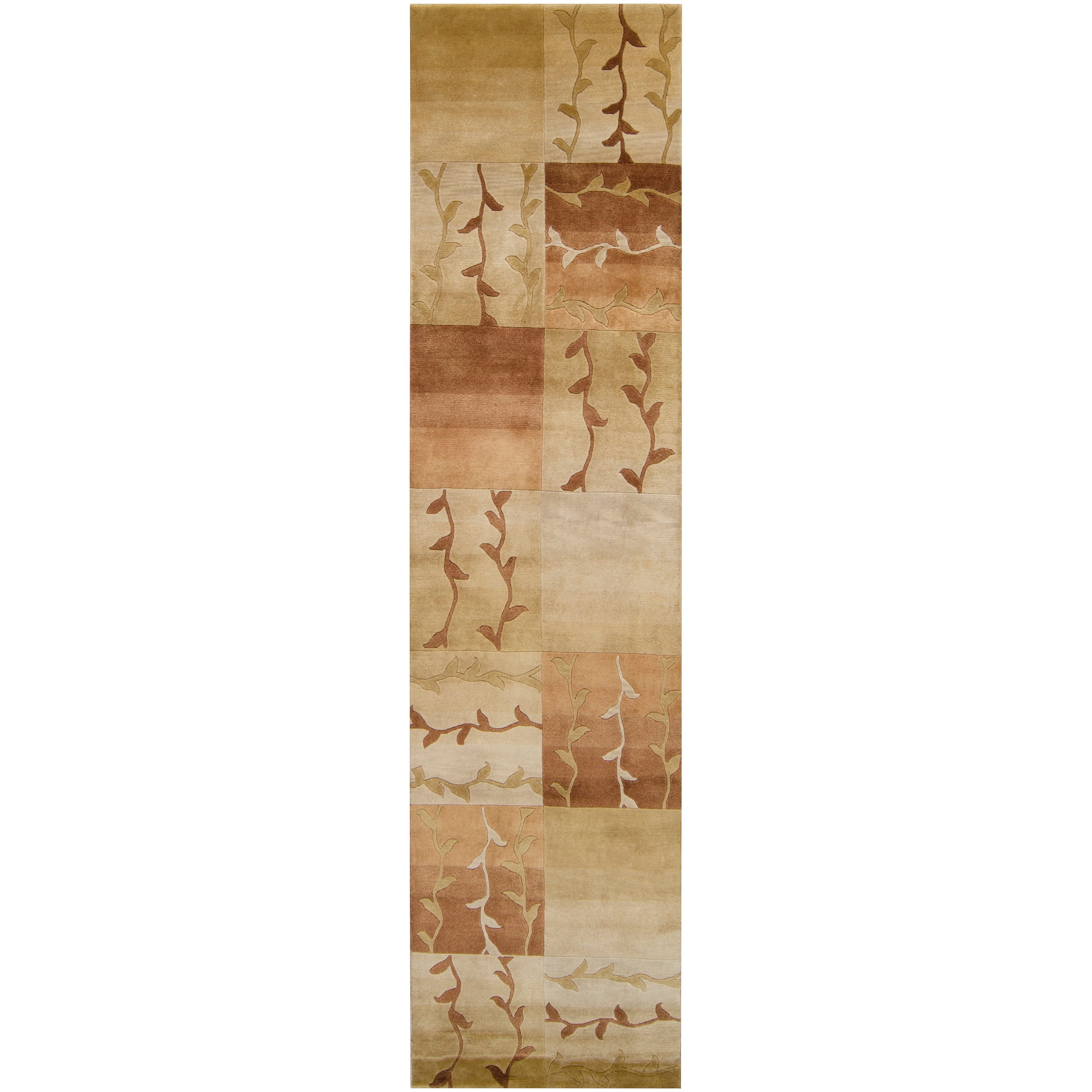 """Hand-Knotted Multicolored Patchwork La Crosse Semi-Worsted New Zealand Wool Area Rug - 2'6"""" x 10' Runner/Surplus"""