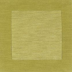 Hand-crafted Green Tone-On-Tone Bordered Mantra Wool Rug (9'9 Square)