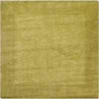 Hand-crafted Green Tone-On-Tone Bordered Mantra Wool Area Rug - 9'9 x 9'9