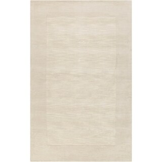 Hand-crafted White Tone-On-Tone Bordered Mantra Wool Area Rug - 12' x 15'