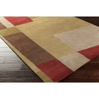 Hand-knotted Multicolored La Crosse Geometric Semi-Worsted Wool Area Rug - 2'6 x 10'