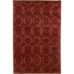 Hand-Knotted Multicolored La Crosse Geometric Semi-Worsted Wool Area Rug - 5' x 8' - Thumbnail 0