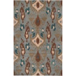 Hand-tufted Blue Carron Bay Wool Rug (5' x 8')