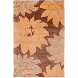 Hand-Knotted Multicolored La Crosse Semi-Worsted Floral New Zealand Wool Rug (5' x 8')