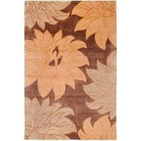 Hand-Knotted Multicolored La Crosse Semi-Worsted Floral New Zealand Wool Area Rug (5' x 8')