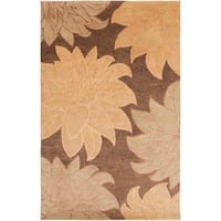 Hand-Knotted Multicolored La Crosse Semi-Worsted Floral New Zealand Wool Area Rug - 5' x 8'