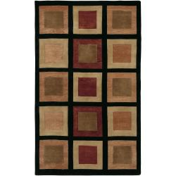 Hand-knotted Multicolored La Crosse Geometric Semi-Worsted Geometric Squares Wool Rug (5' x 8')
