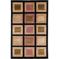 Hand-knotted Multicolored La Crosse Geometric Semi-Worsted Geometric Squares Wool Area Rug - 5' x 8'